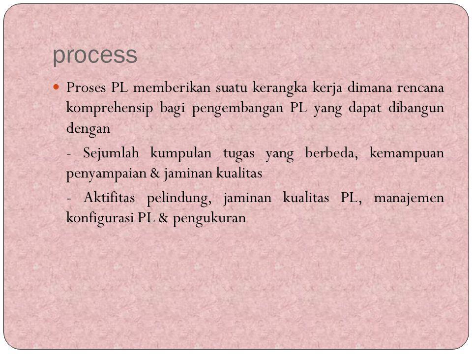 process Proses PL memberikan suatu kerangka kerja dimana rencana komprehensip bagi pengembangan PL yang dapat dibangun dengan - Sejumlah kumpulan tuga