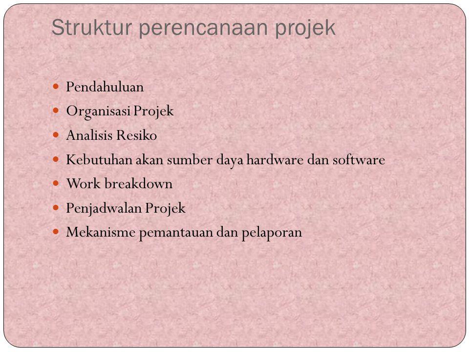 Struktur perencanaan projek Pendahuluan Organisasi Projek Analisis Resiko Kebutuhan akan sumber daya hardware dan software Work breakdown Penjadwalan