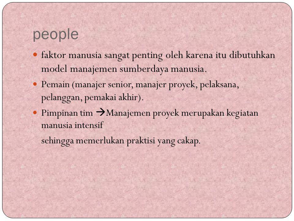 people faktor manusia sangat penting oleh karena itu dibutuhkan model manajemen sumberdaya manusia. Pemain (manajer senior, manajer proyek, pelaksana,