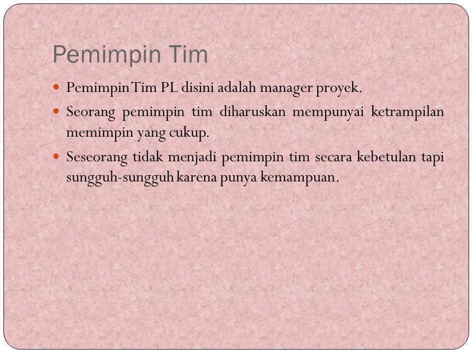 Pemimpin Tim Pemimpin Tim PL disini adalah manager proyek. Seorang pemimpin tim diharuskan mempunyai ketrampilan memimpin yang cukup. Seseorang tidak