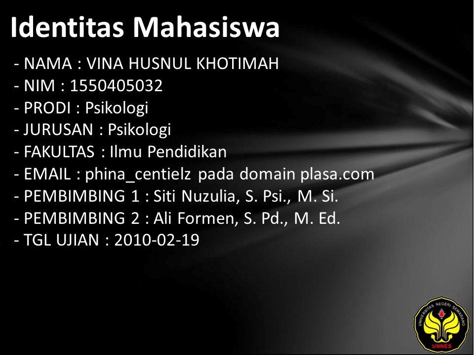 Identitas Mahasiswa - NAMA : VINA HUSNUL KHOTIMAH - NIM : 1550405032 - PRODI : Psikologi - JURUSAN : Psikologi - FAKULTAS : Ilmu Pendidikan - EMAIL : phina_centielz pada domain plasa.com - PEMBIMBING 1 : Siti Nuzulia, S.