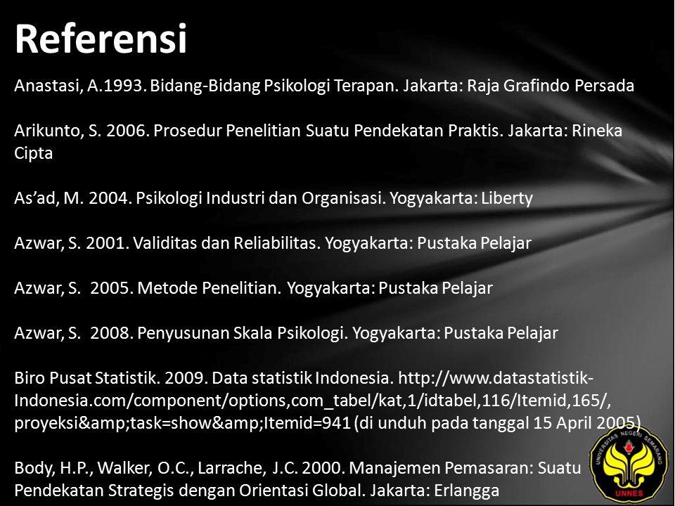 Referensi Anastasi, A.1993. Bidang-Bidang Psikologi Terapan.