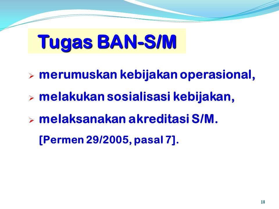 Tugas BAN-S/M mmerumuskan kebijakan operasional, mmelakukan sosialisasi kebijakan, mmelaksanakan akreditasi S/M. [Permen 29/2005, pasal 7]. 18