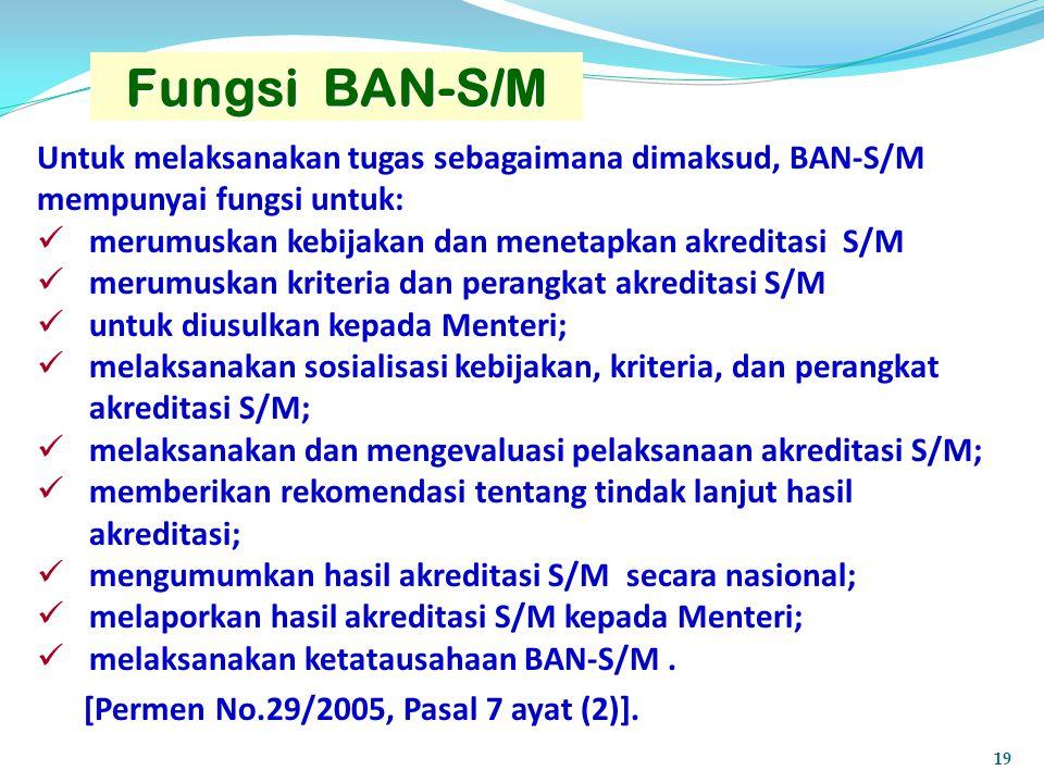 Fungsi BAN-S/M Untuk melaksanakan tugas sebagaimana dimaksud, BAN-S/M mempunyai fungsi untuk: merumuskan kebijakan dan menetapkan akreditasi S/M merum