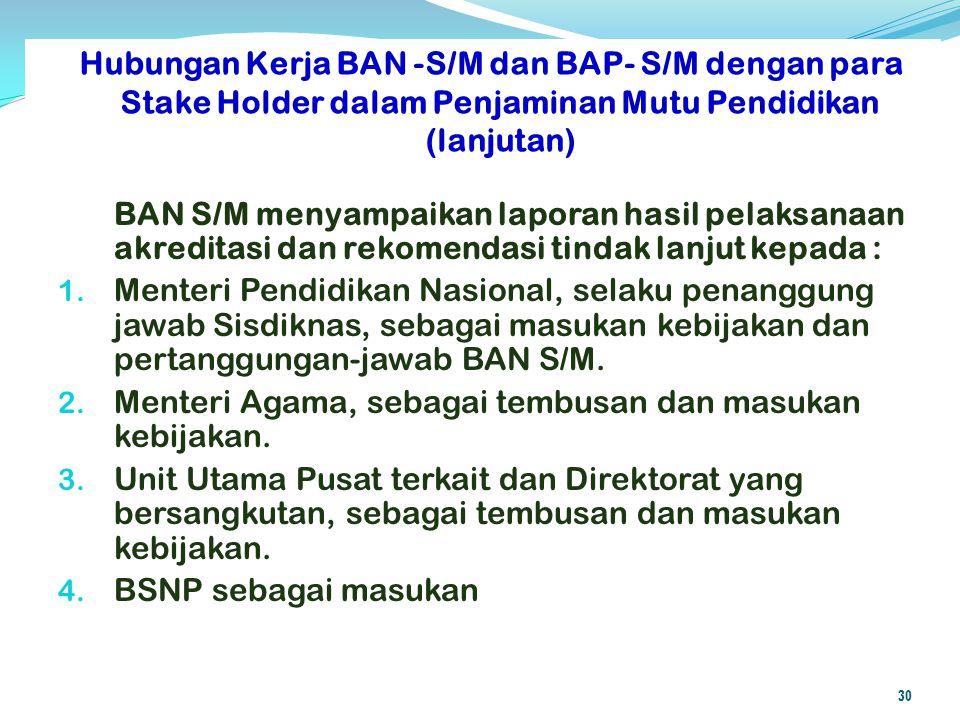 BAN S/M menyampaikan laporan hasil pelaksanaan akreditasi dan rekomendasi tindak lanjut kepada : 1. Menteri Pendidikan Nasional, selaku penanggung jaw