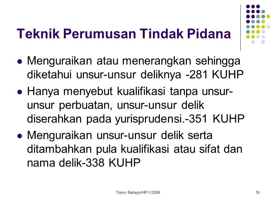 Trisno Raharjo/HP/V/200616 Teknik Perumusan Tindak Pidana Menguraikan atau menerangkan sehingga diketahui unsur-unsur deliknya -281 KUHP Hanya menyebu