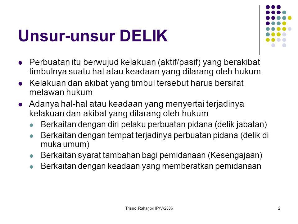Trisno Raharjo/HP/V/20062 Unsur-unsur DELIK Perbuatan itu berwujud kelakuan (aktif/pasif) yang berakibat timbulnya suatu hal atau keadaan yang dilarang oleh hukum.