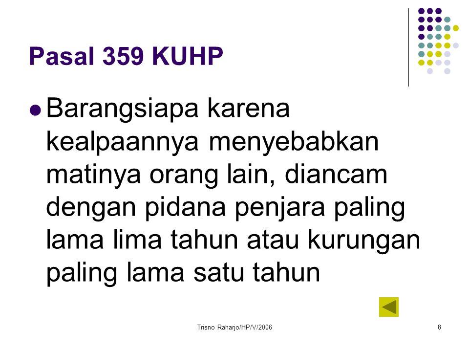 Trisno Raharjo/HP/V/20068 Pasal 359 KUHP Barangsiapa karena kealpaannya menyebabkan matinya orang lain, diancam dengan pidana penjara paling lama lima