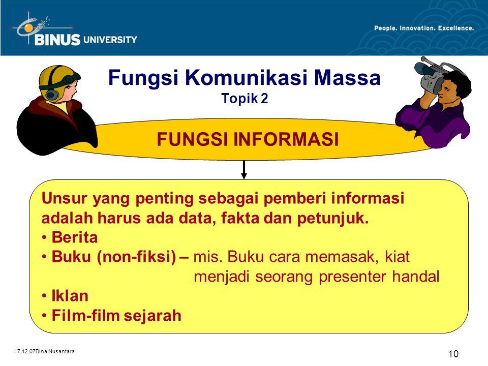 17.12.07Bina Nusantara 10 FUNGSI INFORMASI Unsur yang penting sebagai pemberi informasi adalah harus ada data, fakta dan petunjuk. Berita Buku (non-fi