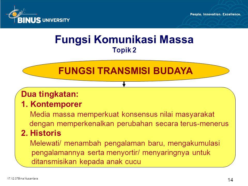 17.12.07Bina Nusantara 14 FUNGSI TRANSMISI BUDAYA Dua tingkatan: 1.Kontemporer Media massa memperkuat konsensus nilai masyarakat dengan memperkenalkan