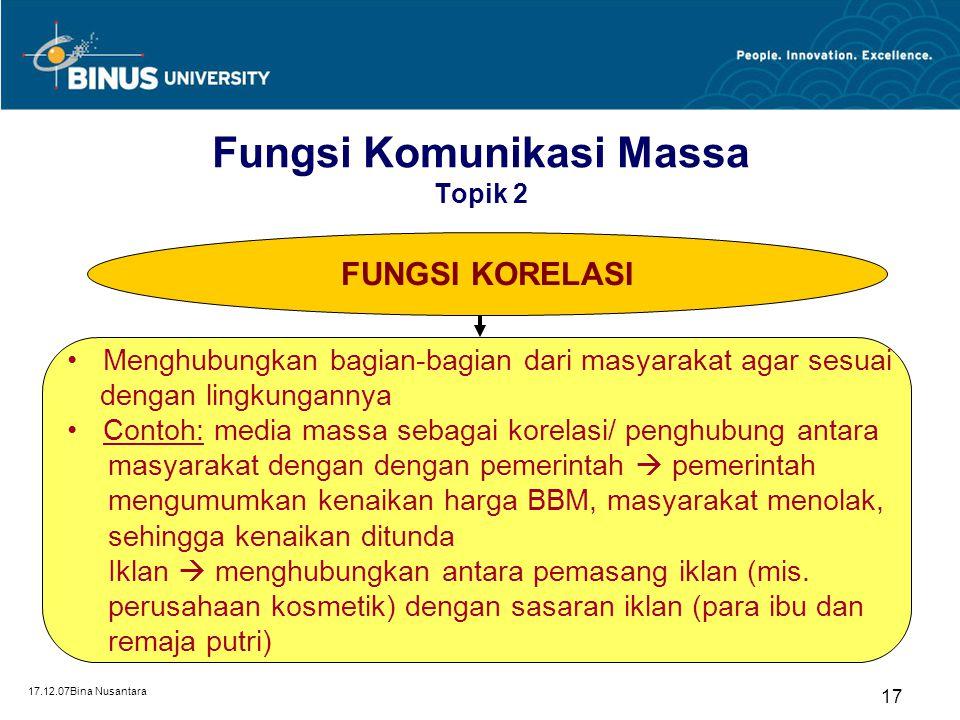 17.12.07Bina Nusantara 17 FUNGSI KORELASI Menghubungkan bagian-bagian dari masyarakat agar sesuai dengan lingkungannya Contoh: media massa sebagai kor