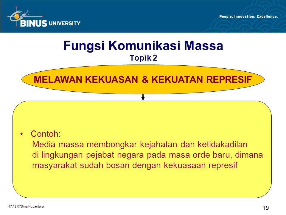 17.12.07Bina Nusantara 19 MELAWAN KEKUASAN & KEKUATAN REPRESIF Contoh: Media massa membongkar kejahatan dan ketidakadilan di lingkungan pejabat negara
