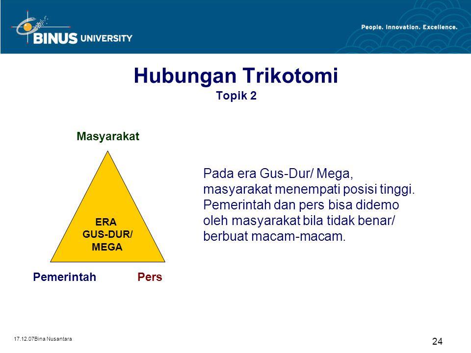17.12.07Bina Nusantara 24 Hubungan Trikotomi Topik 2 ERA GUS-DUR/ MEGA PemerintahPers Masyarakat Pada era Gus-Dur/ Mega, masyarakat menempati posisi t