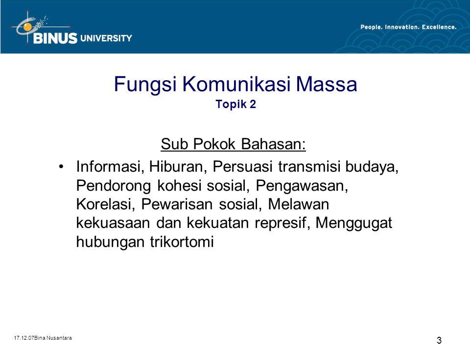 17.12.07Bina Nusantara 3 Fungsi Komunikasi Massa Topik 2 Sub Pokok Bahasan: Informasi, Hiburan, Persuasi transmisi budaya, Pendorong kohesi sosial, Pe