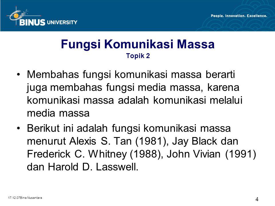17.12.07Bina Nusantara 4 Fungsi Komunikasi Massa Topik 2 Membahas fungsi komunikasi massa berarti juga membahas fungsi media massa, karena komunikasi
