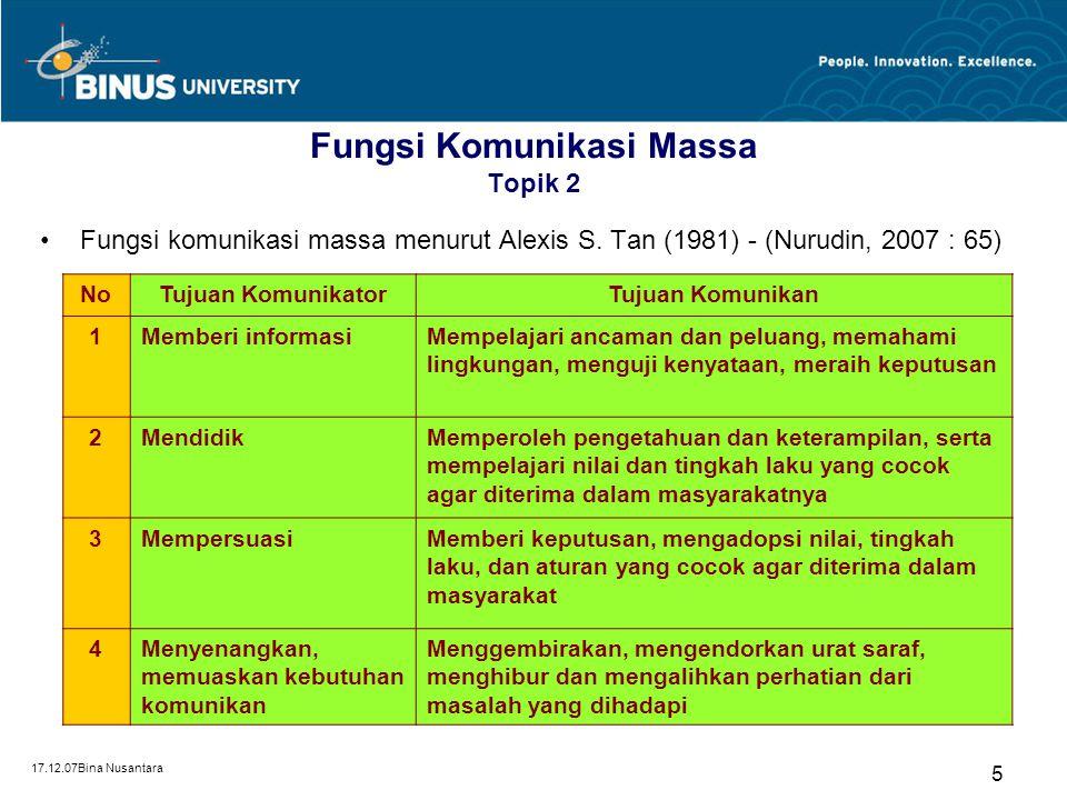 17.12.07Bina Nusantara 5 Fungsi Komunikasi Massa Topik 2 Fungsi komunikasi massa menurut Alexis S. Tan (1981) - (Nurudin, 2007 : 65) NoTujuan Komunika