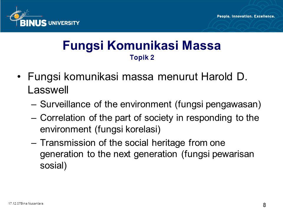 17.12.07Bina Nusantara 8 Fungsi Komunikasi Massa Topik 2 Fungsi komunikasi massa menurut Harold D. Lasswell –Surveillance of the environment (fungsi p
