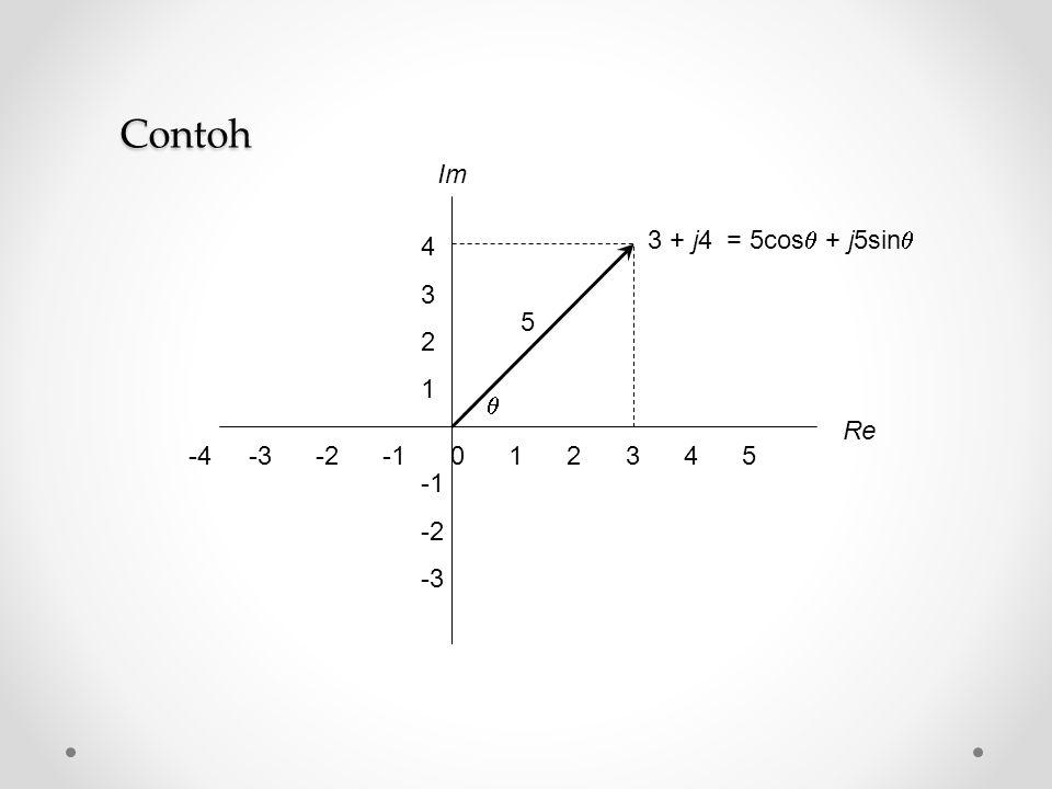 -4 -3 -2 -1 0 1 2 3 4 5 Re Im 4 3 2 1 -2 -3 3 + j4 = 5cos  + j5sin   5 Contoh