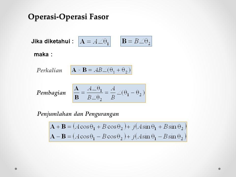 Perkalian Pembagian Penjumlahan dan Pengurangan Jika diketahui : maka : Operasi-Operasi Fasor