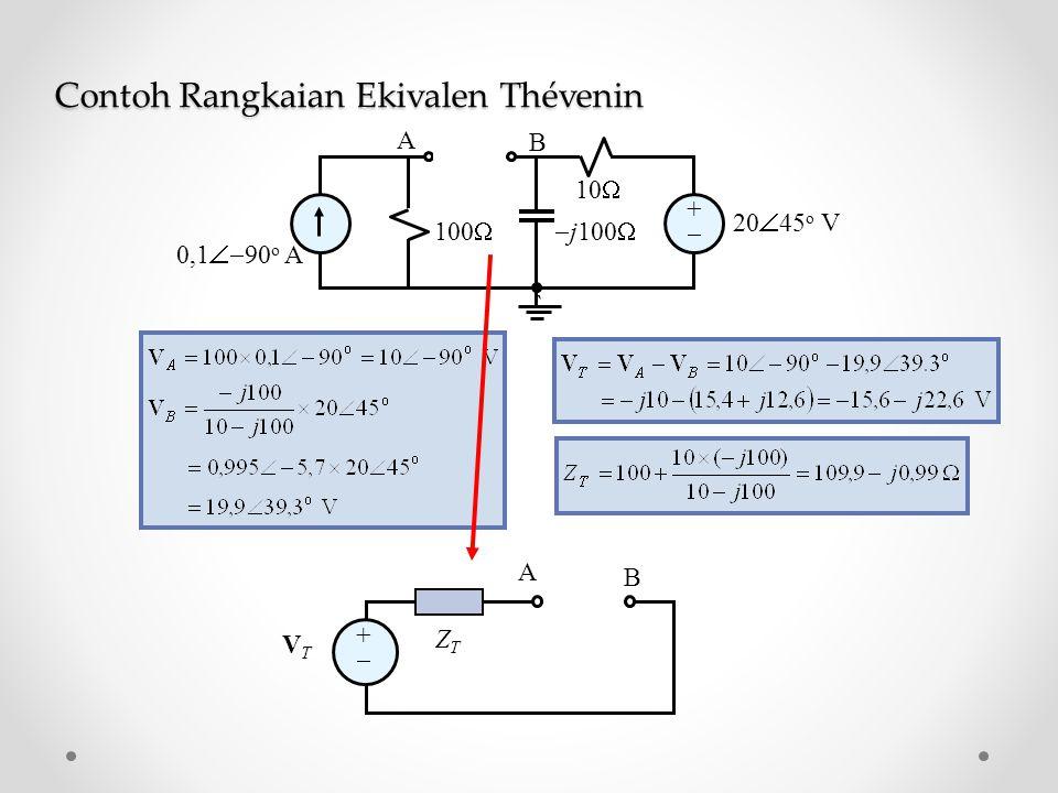 ++  j100  10  100  0,1  90 o A 20  45 o V ` A B ++ VTVT ZTZT A B Contoh Rangkaian Ekivalen Thévenin