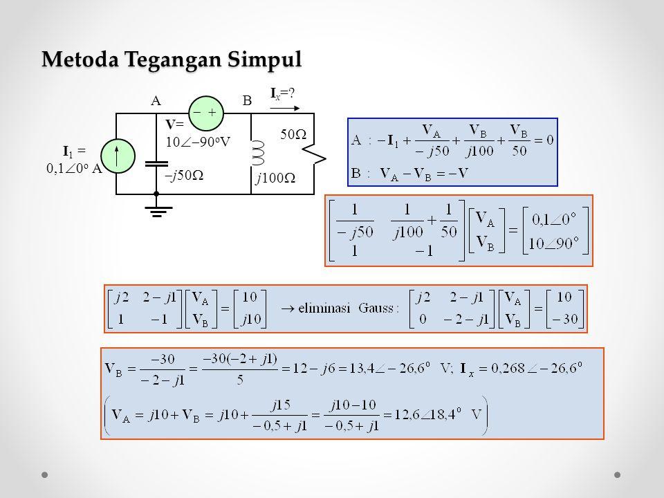 Metoda Tegangan Simpul   I 1 = 0,1  0 o A V= 10  90 o V  j50  j100  50  I x =? AB