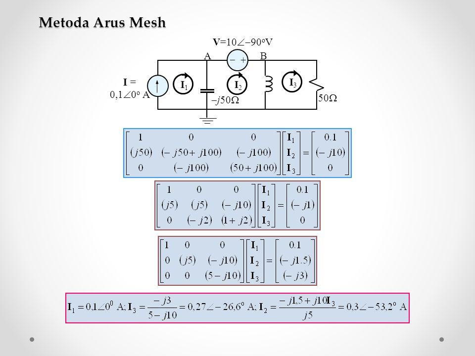   I = 0,1  0 o A V=10  90 o V  j50  50  AB I1I1 I2I2 I3I3 Metoda Arus Mesh