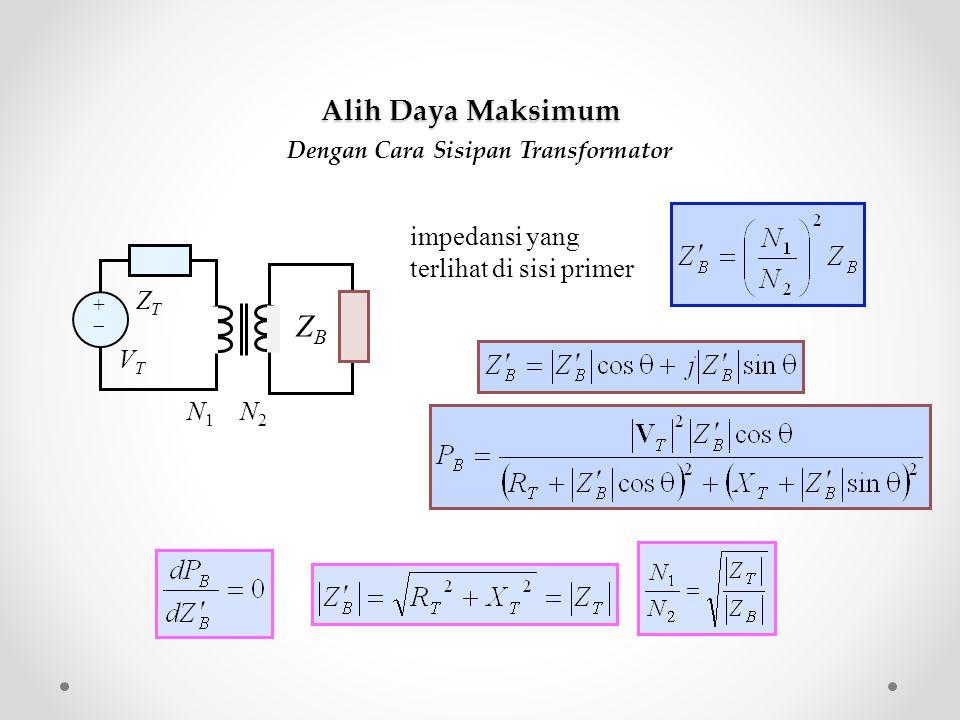 Dengan Cara Sisipan Transformator impedansi yang terlihat di sisi primer Z B ++ ZTZT VTVT N 1 N 2 Alih Daya Maksimum