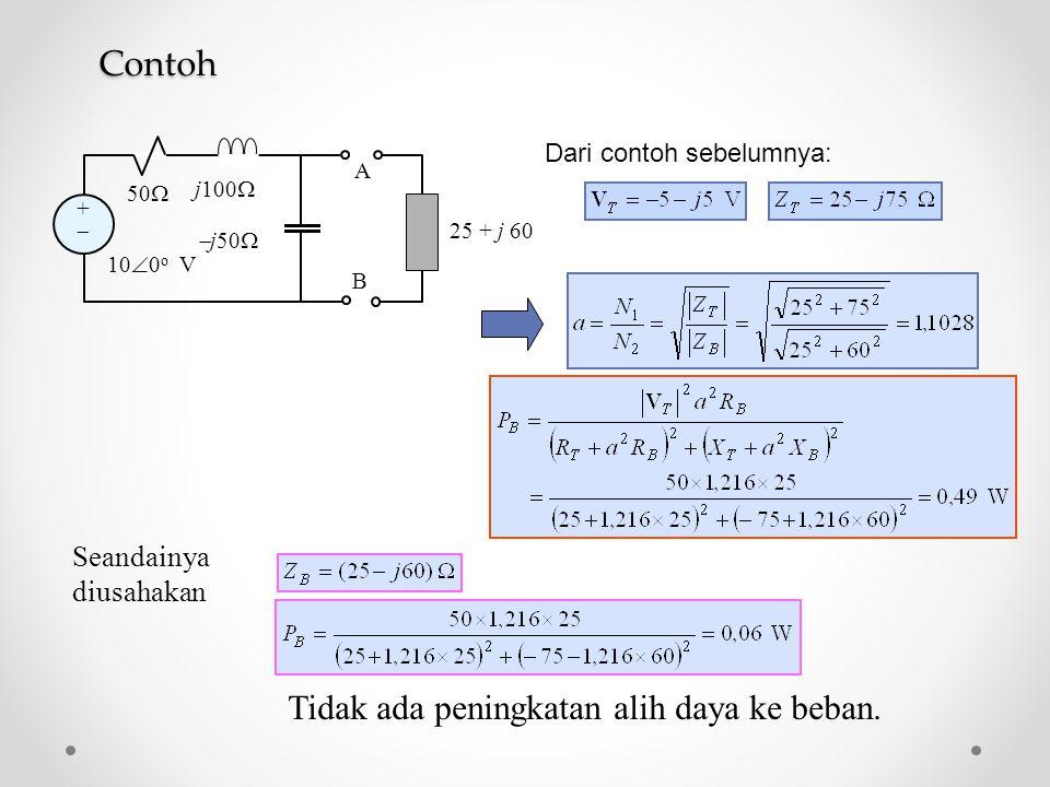 ++ 50  j100   j50  A B 10  0 o V 25 + j 60 Seandainya diusahakan Tidak ada peningkatan alih daya ke beban. Dari contoh sebelumnya:Contoh