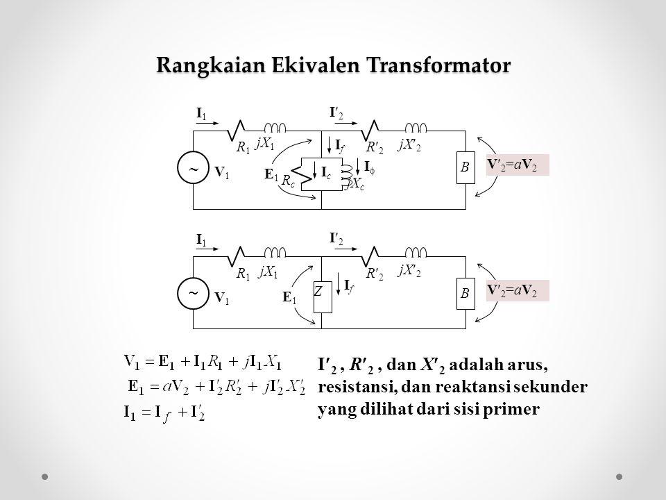 Z R2R2  IfIf B jX 2 R1R1 jX 1 I1I1 I2I2 V1V1 E1E1 V2=aV2V2=aV2 I 2, R 2, dan X 2 adalah arus, resistansi, dan reaktansi sekunder yang dilihat dari si