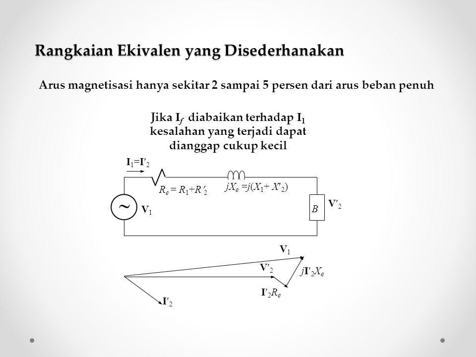  B jX e =j(X 1 + X 2 ) R e = R 1 +R 2 I1=I2I1=I2 V1V1 V2V2 I2I2 I2ReI2Re jI2Xe jI2Xe V2V2 V1V1 Arus magnetisasi hanya sekitar 2 sampai 5 persen dari
