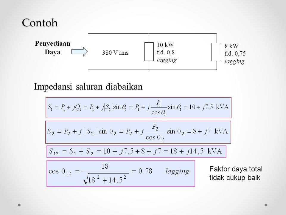 10 kW f.d. 0,8 lagging 8 kW f.d. 0,75 lagging 380 V rms Penyediaan Daya Contoh Impedansi saluran diabaikan Faktor daya total tidak cukup baik