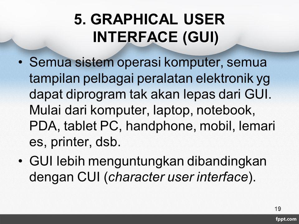 5. GRAPHICAL USER INTERFACE (GUI) Semua sistem operasi komputer, semua tampilan pelbagai peralatan elektronik yg dapat diprogram tak akan lepas dari G