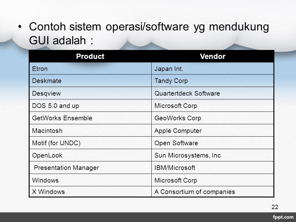Contoh sistem operasi/software yg mendukung GUI adalah : ProductVendor EtronJapan Int. DeskmateTandy Corp DesqviewQuartertdeck Software DOS 5.0 and up