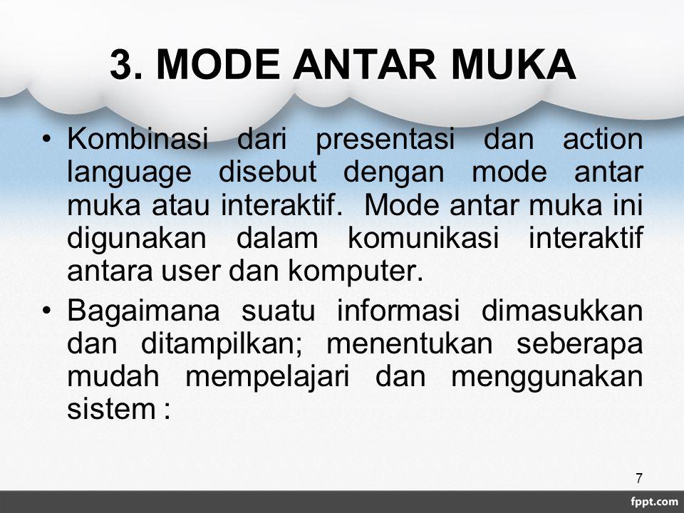 3. MODE ANTAR MUKA Kombinasi dari presentasi dan action language disebut dengan mode antar muka atau interaktif. Mode antar muka ini digunakan dalam k