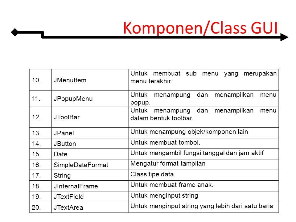 Komponen/Class GUI 10.JMenuItem Untuk membuat sub menu yang merupakan menu terakhir. 11.JPopupMenu Untuk menampung dan menampilkan menu popup. 12.JToo
