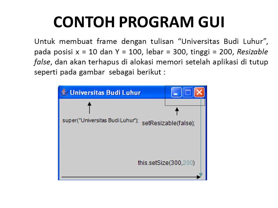 """CONTOH PROGRAM GUI Untuk membuat frame dengan tulisan """"Universitas Budi Luhur"""", pada posisi x = 10 dan Y = 100, lebar = 300, tinggi = 200, Resizable f"""