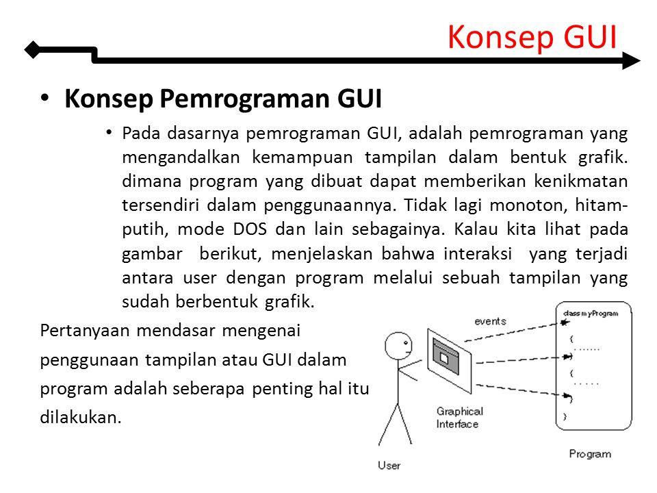Konsep Pemrograman GUI Pada dasarnya pemrograman GUI, adalah pemrograman yang mengandalkan kemampuan tampilan dalam bentuk grafik. dimana program yang
