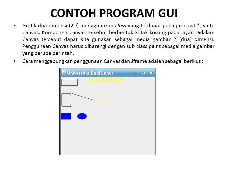 CONTOH PROGRAM GUI Grafik dua dimensi (2D) menggunakan class yang terdapat pada java.awt.*, yaitu Canvas. Komponen Canvas tersebut berbentuk kotak kos