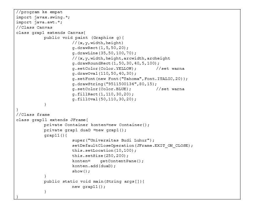 //program ke empat import javax.swing.*; import java.awt.*; //Class Canvas class grap1 extends Canvas{ public void paint (Graphics g){ //(x,y,width,he