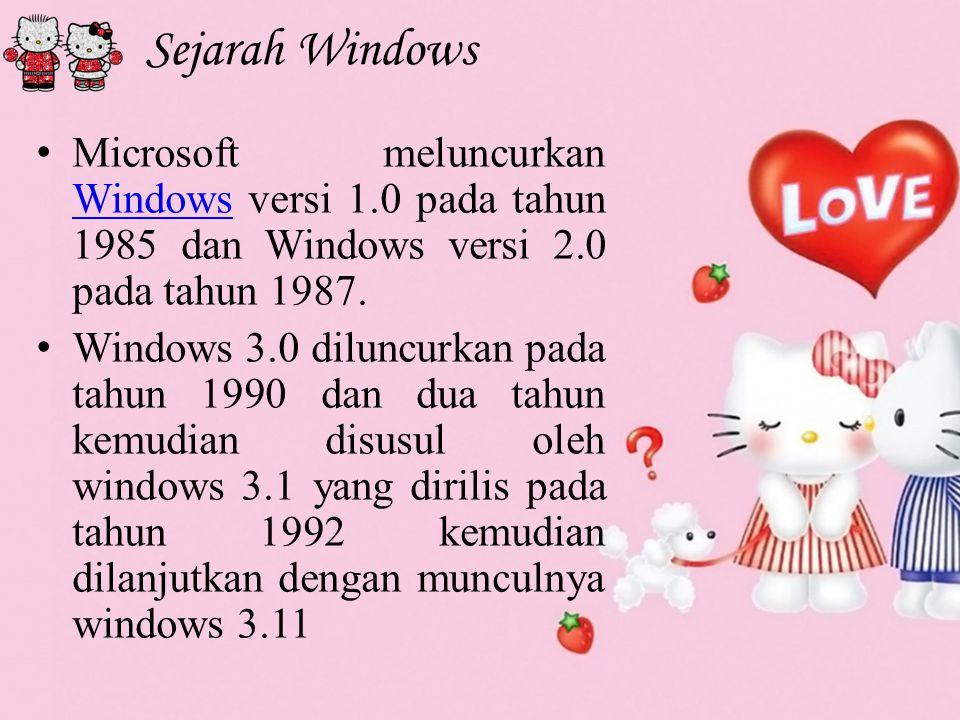 Sejarah Windows M icrosoft meluncurkan Windows versi 1.0 pada tahun 1985 dan Windows versi 2.0 pada tahun 1987.