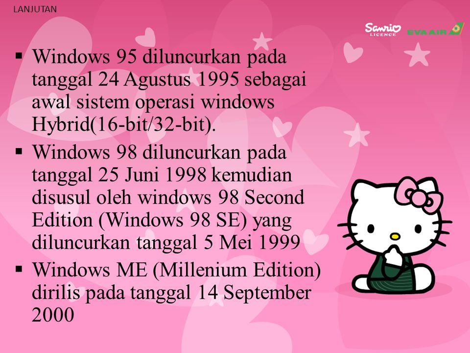 LANJUTAN WW indows 95 diluncurkan pada tanggal 24 Agustus 1995 sebagai awal sistem operasi windows Hybrid(16-bit/32-bit).