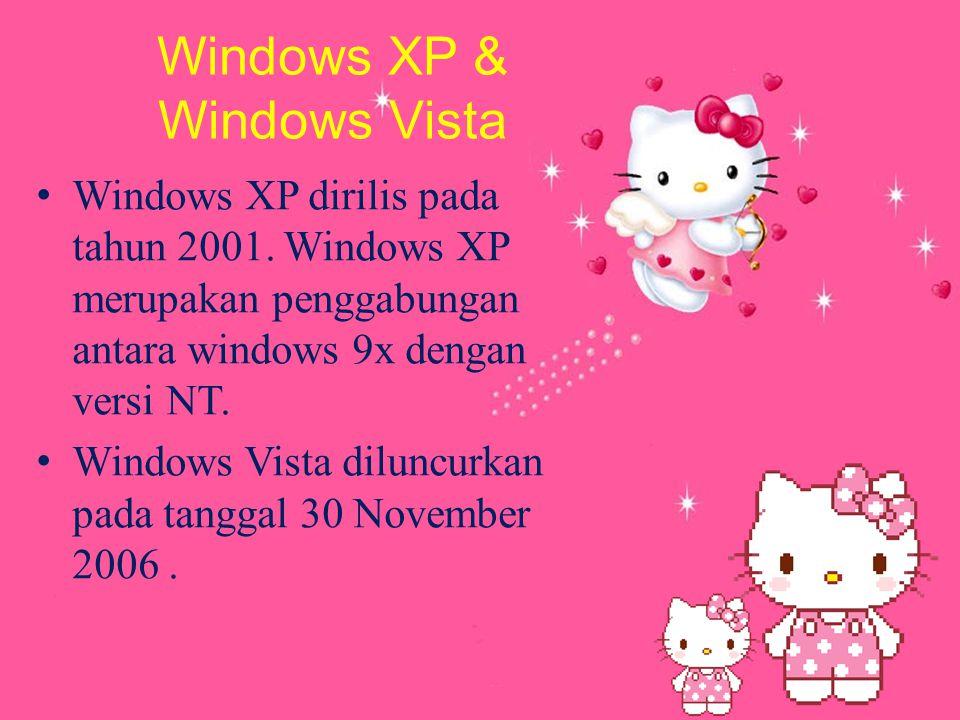Windows XP & Windows Vista W indows XP dirilis pada tahun 2001.