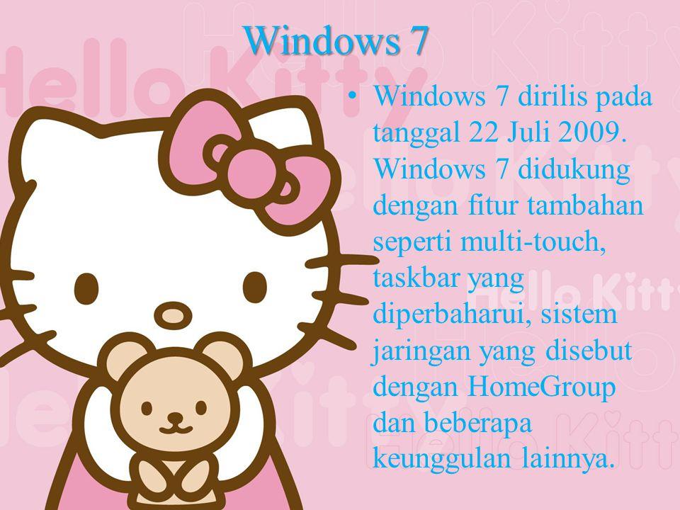 Windows 7 Windows 7 dirilis pada tanggal 22 Juli 2009.