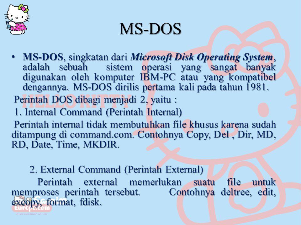 MS-DOS MS-DOS, singkatan dari Microsoft Disk Operating System, adalah sebuah sistem operasi yang sangat banyak digunakan oleh komputer IBM-PC atau yang kompatibel dengannya.