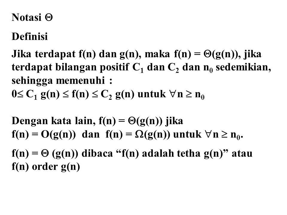 Notasi  Definisi Jika terdapat f(n) dan g(n), maka f(n) =  (g(n)), jika terdapat bilangan positif C 1 dan C 2 dan n 0 sedemikian, sehingga memenuhi : 0  C 1 g(n)  f(n)  C 2 g(n) untuk  n  n 0 Dengan kata lain, f(n) =  (g(n)) jika f(n) = O(g(n)) dan f(n) =  (g(n)) untuk  n  n 0.