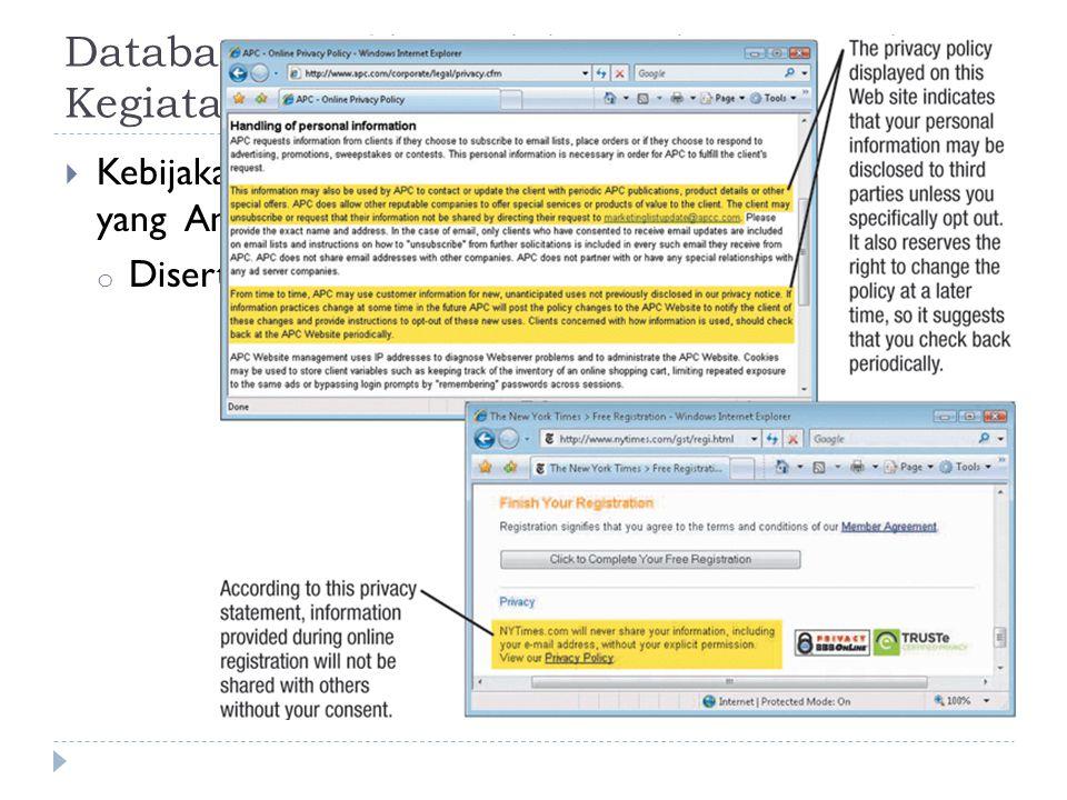 Database, Profiling Elektronik, Spam, dan Kegiatan Pemasaran Lainnya  Kebijakan privasi: Mengungkapkan bagaimana informasi yang Anda berikan akan digunakan o Disertakan pada banyak situs Web