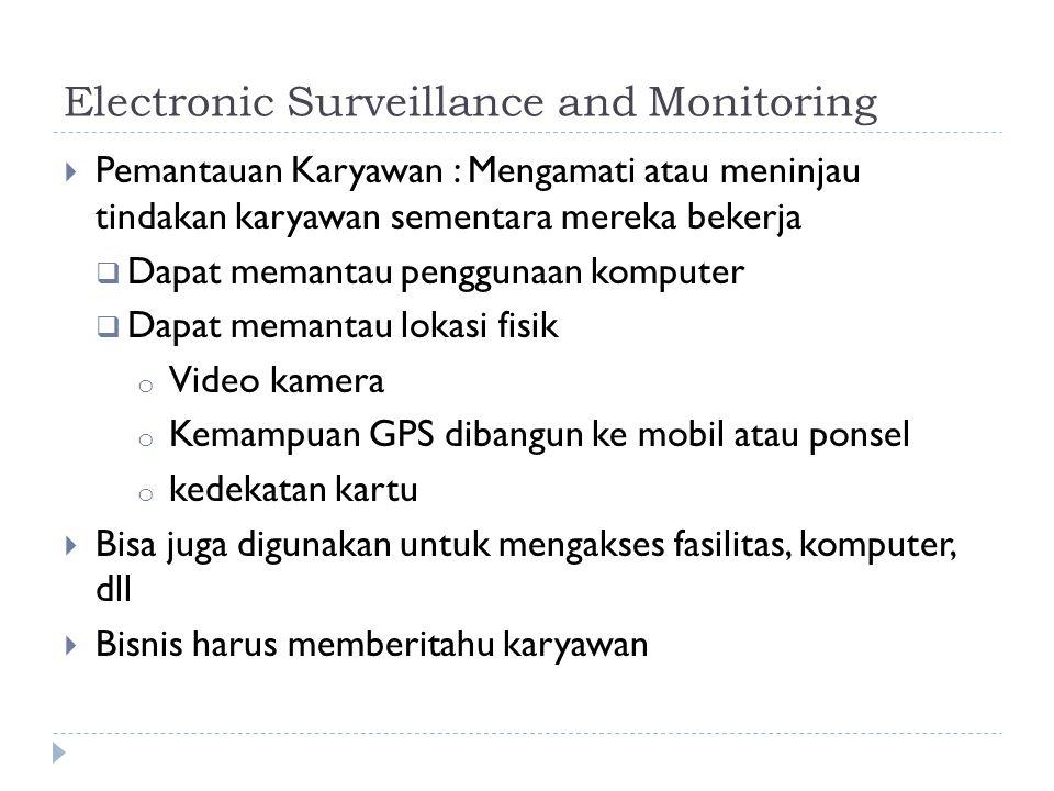 Electronic Surveillance and Monitoring  Pemantauan Karyawan : Mengamati atau meninjau tindakan karyawan sementara mereka bekerja  Dapat memantau pen