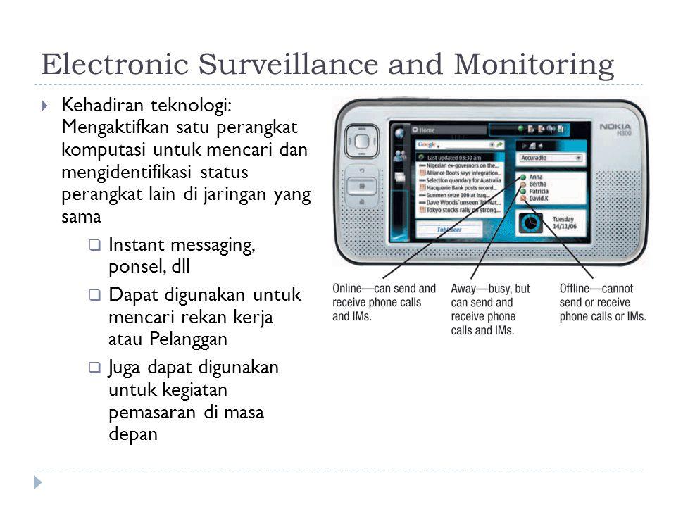 Electronic Surveillance and Monitoring  Kehadiran teknologi: Mengaktifkan satu perangkat komputasi untuk mencari dan mengidentifikasi status perangkat lain di jaringan yang sama  Instant messaging, ponsel, dll  Dapat digunakan untuk mencari rekan kerja atau Pelanggan  Juga dapat digunakan untuk kegiatan pemasaran di masa depan