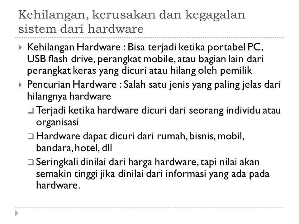 Kehilangan, kerusakan dan kegagalan sistem dari hardware  Kehilangan Hardware : Bisa terjadi ketika portabel PC, USB flash drive, perangkat mobile, atau bagian lain dari perangkat keras yang dicuri atau hilang oleh pemilik  Pencurian Hardware : Salah satu jenis yang paling jelas dari hilangnya hardware  Terjadi ketika hardware dicuri dari seorang individu atau organisasi  Hardware dapat dicuri dari rumah, bisnis, mobil, bandara, hotel, dll  Seringkali dinilai dari harga hardware, tapi nilai akan semakin tinggi jika dinilai dari informasi yang ada pada hardware.
