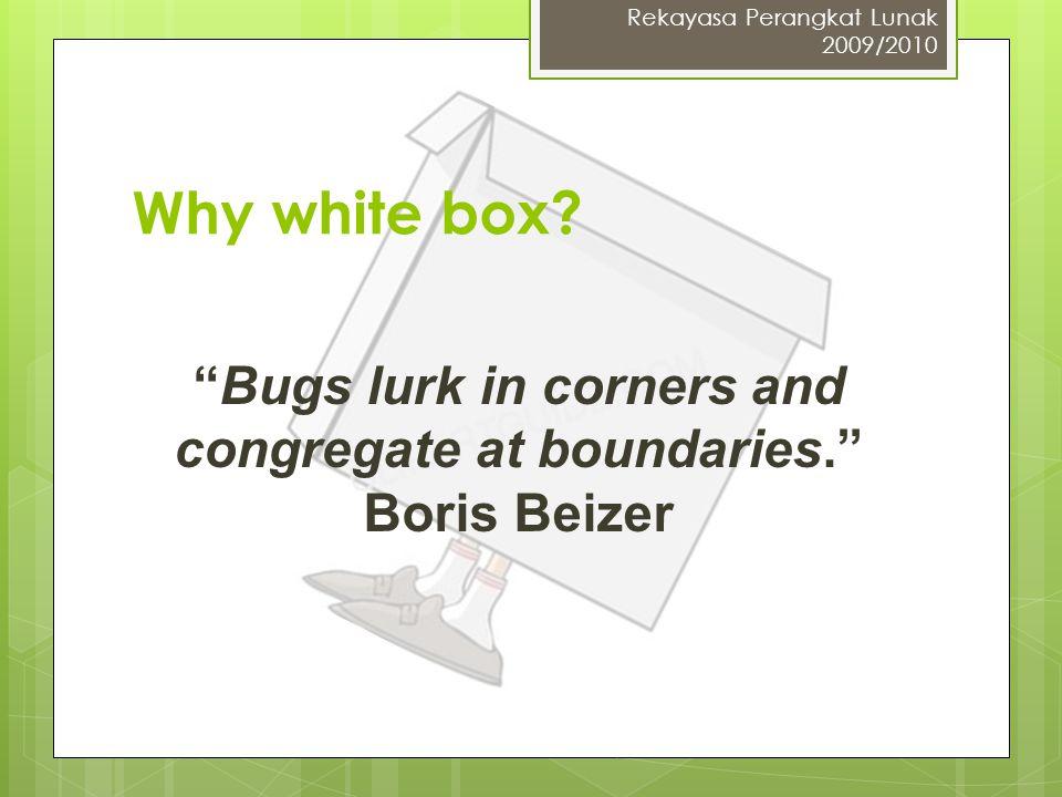 "Why white box? ""Bugs lurk in corners and congregate at boundaries."" Boris Beizer Rekayasa Perangkat Lunak 2009/2010"
